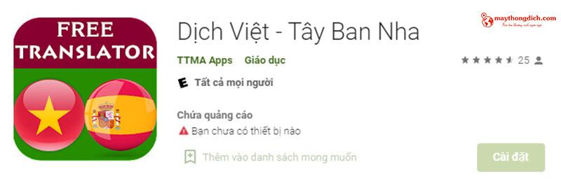 app dịch tiếng tây ban nha