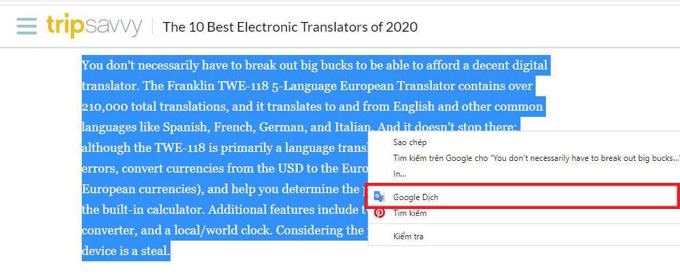 Dịch minh họa bằng Google Extension
