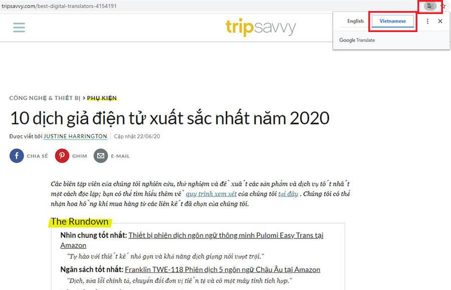 Bấm vào biểu tượng và chọn Vietnamese