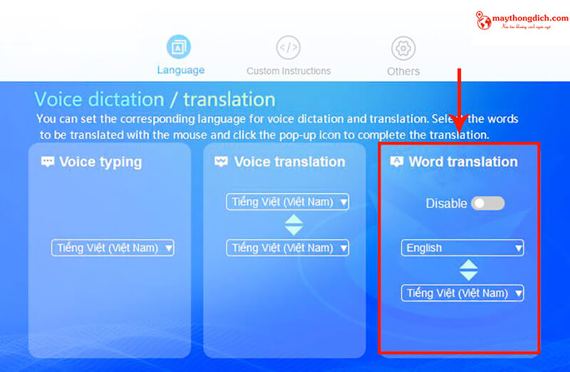 Tính năng word translation