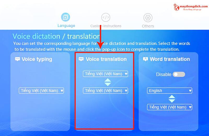 Tính năng Voice Translation