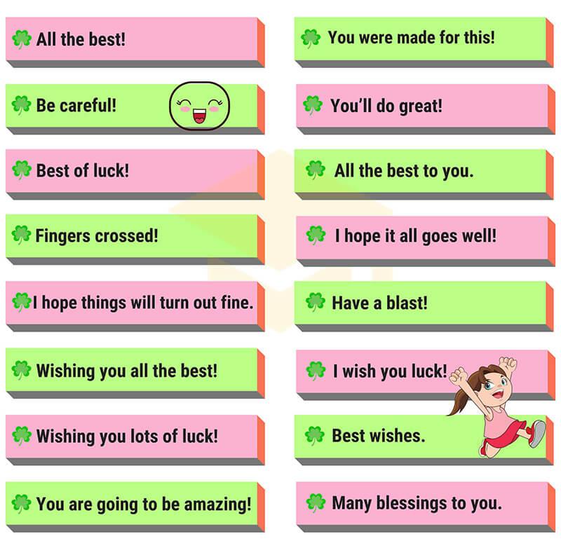 Câu chúc may mắn tiếng Anh