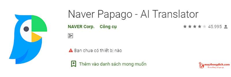 phần mềm dịch ngôn ngữ hàn quốc papago