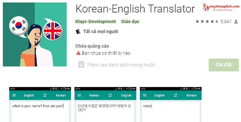 phần mềm dịch tiếng hàn klays development