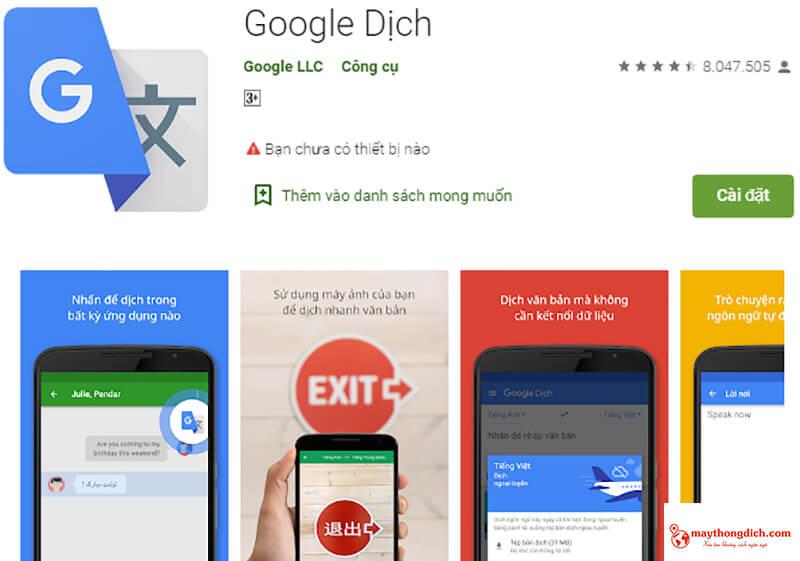 ứng dụng dịch tiếng hàn google translate