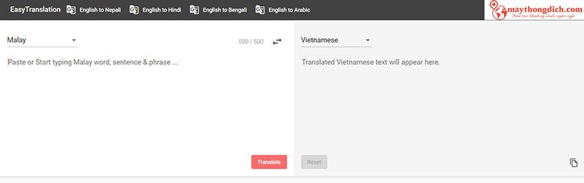 dịch trực tuyến Easytranslation