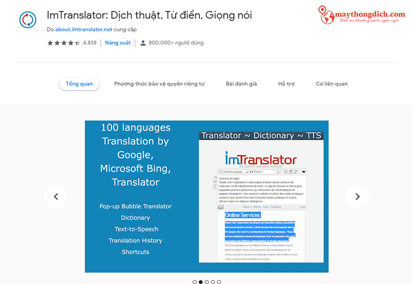 phần mềm dịch thuật Imtranslator