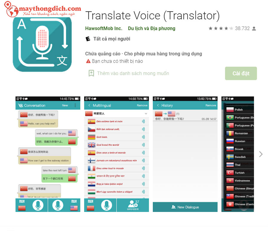 dịch thuật ngôn ngữ Translate Voice