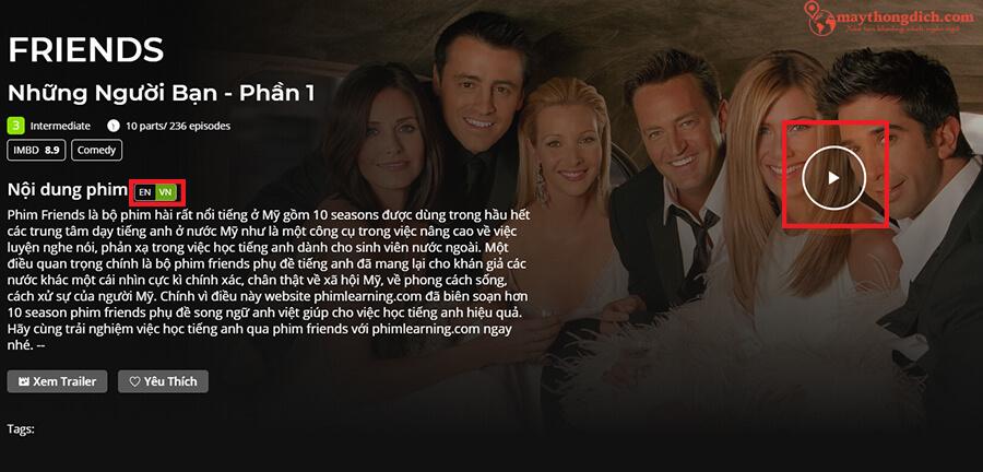 Cách học tiếng Anh qua phim Friends