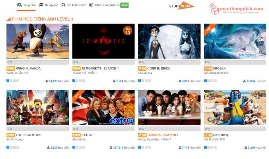 Trang web xem phim học tiếng Anh Studyphim