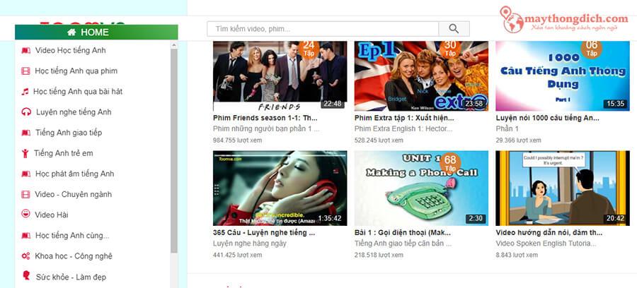 Toomva web học tiếng Anh qua phim song ngữ