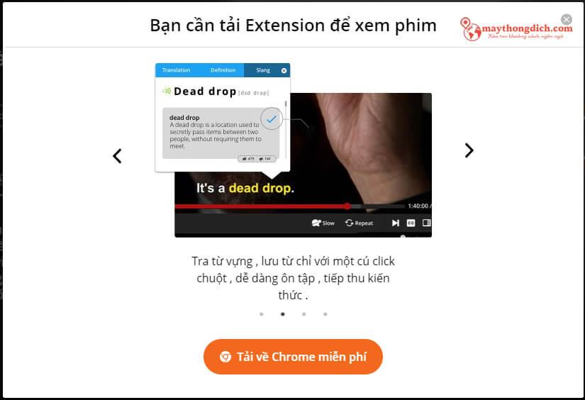 Website yêu cầu tải Extension để luyện tiếng anh qua phim