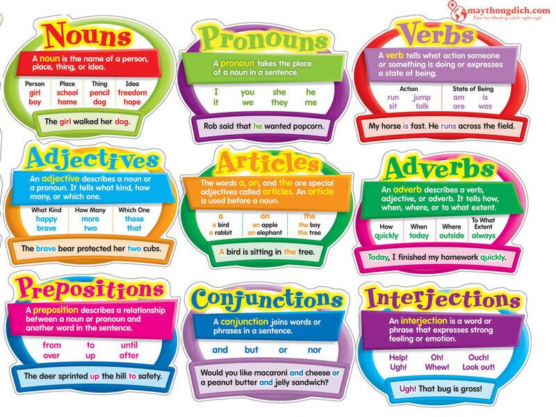 Tổng hợp các loại từ trong tiếng Anh