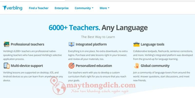 Trang web Verbling giao tiếp tiếng Anh với người nước ngoài