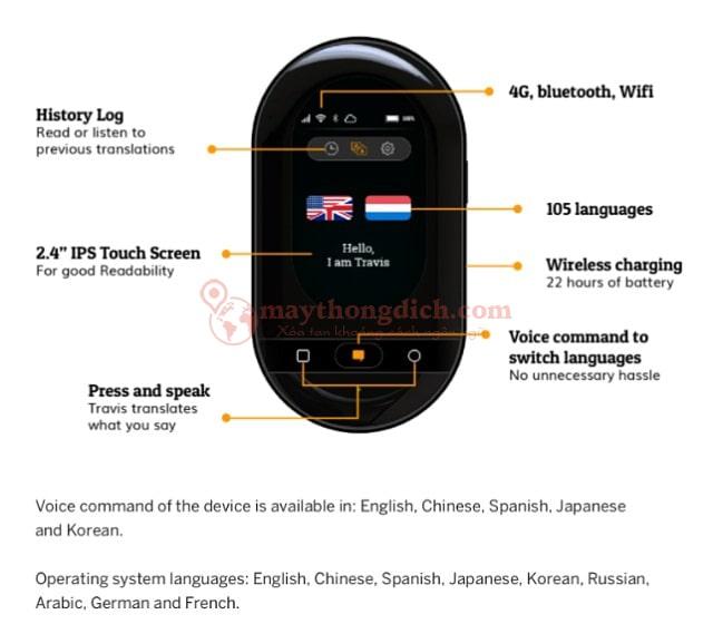 Máy phiên dịch Travis Touch - Hỗ Trợ 105 Ngôn Ngữ
