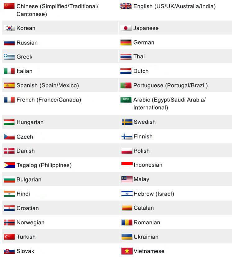 Danh sách ngôn ngữ máy Nativopro