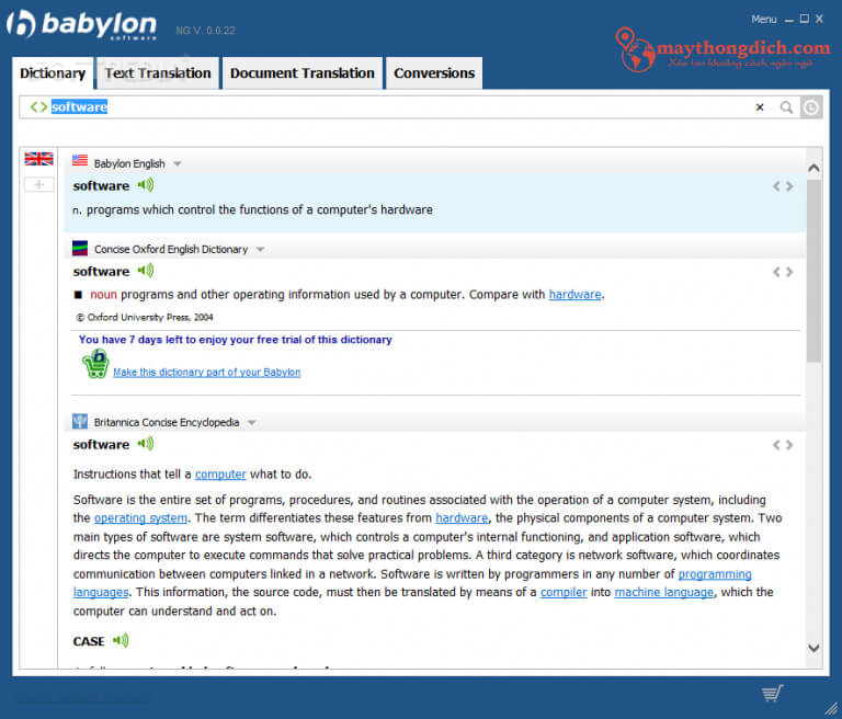 Phần mềm dịch tiếng Anh chuẩn xác nhất của Babylon