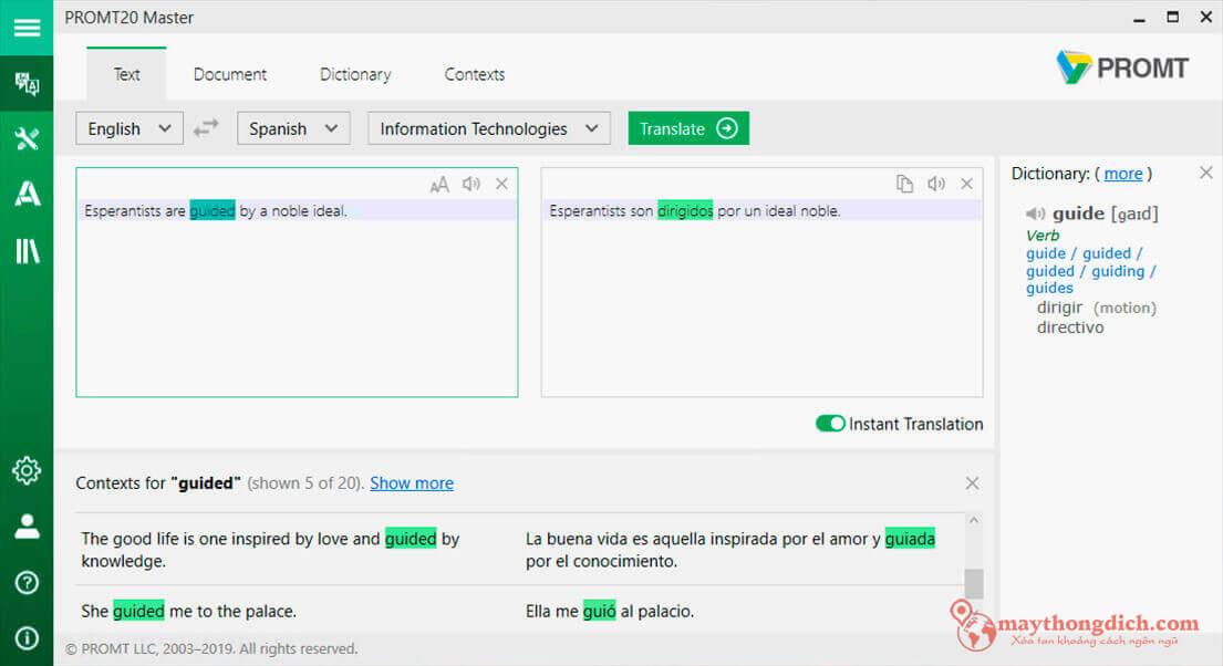 Phần mềm dịch văn bản tiếng Anh PROMT