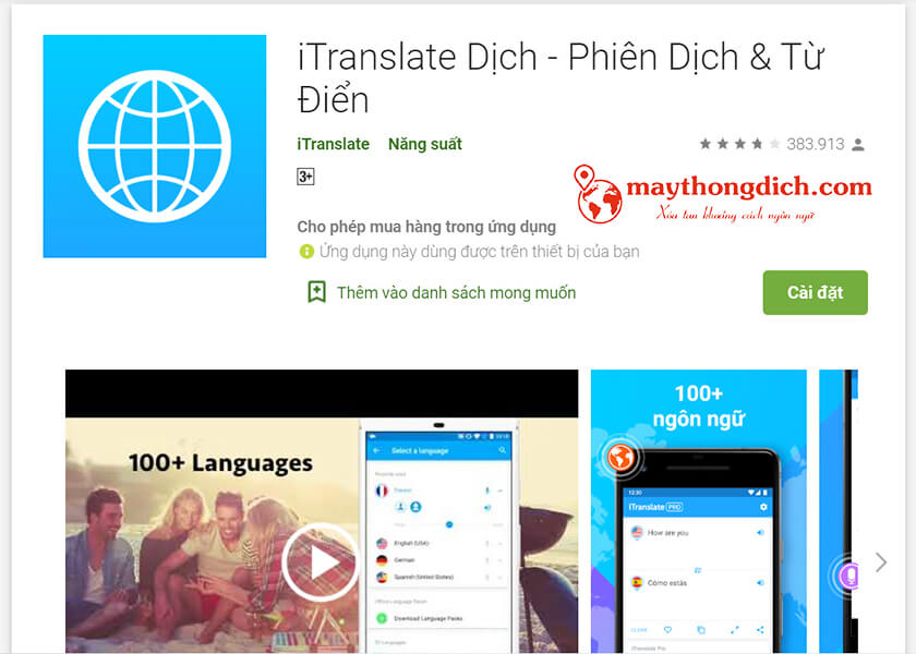 App dịch tiếng Trung trên Iphone iTranslate dịch