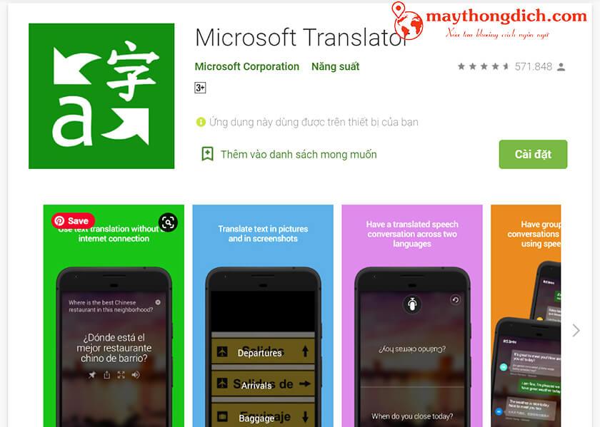 Ứng dụng dịch tiếng Trung Microsoft Translator